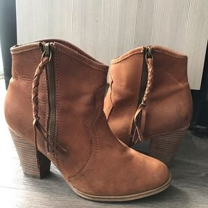 ALDO Brown Leather Western Inspired Booties